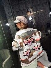 7Mang 2019 otoño mujer Streetwear camuflaje Jeans chaquetas novedad dibujos animados leopardo fiesta suelta chaquetas de mezclilla 0903
