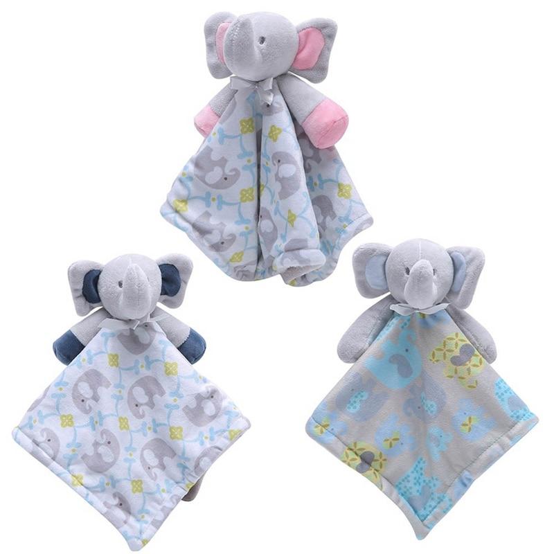 Cute Infant Toddler Baby Comforter Washable Security Blanket Cartoon Dog Deer Elephant Soft Swaddling