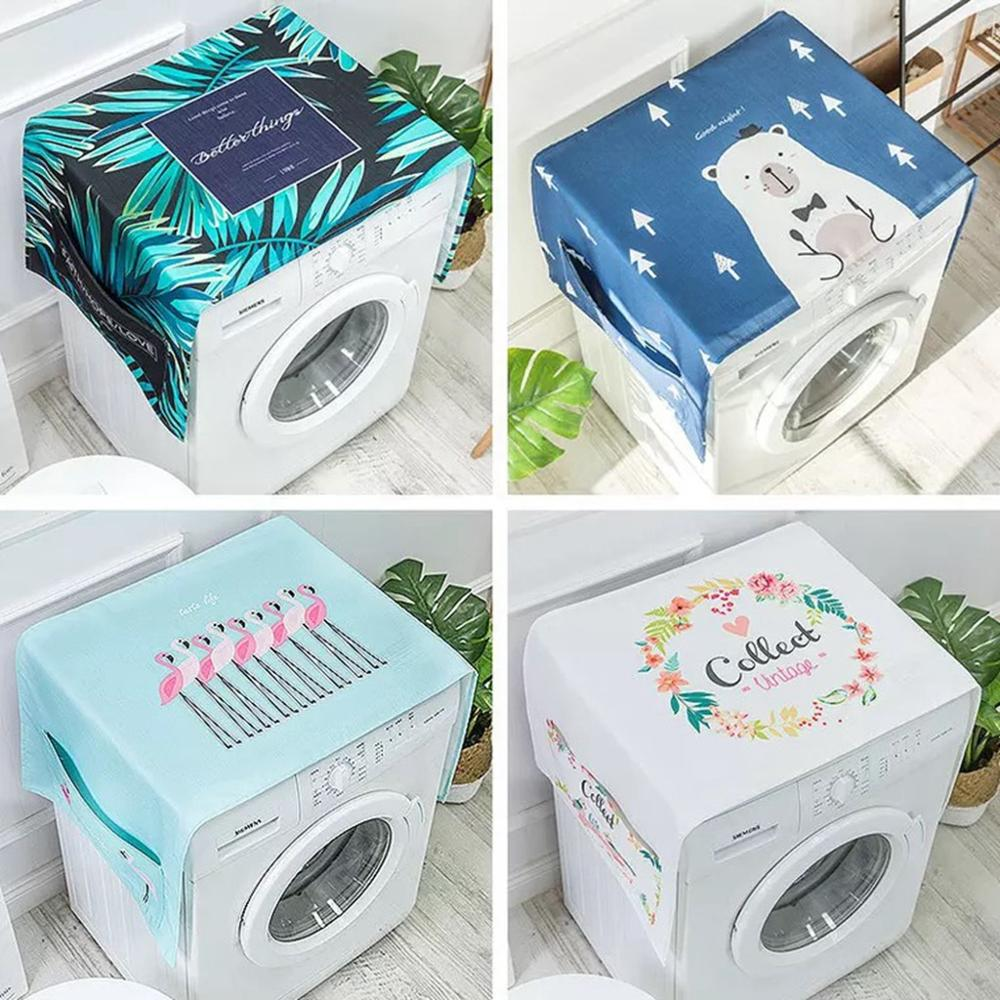 Nordic Linen Washing Machine Covers Dust Cover Single Door Fridge Cover Household Refrigerator Organizer Home Cleaning Lavador