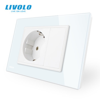 Livolo EU  Power Socket, White/Black Crystal Glass Panel, AC 110~250V 16A Wall Power Socket, VL-C9C1EU-11/12 5pcs 16a 250v e 08 eu female socket black industrial ac extended power cord connector electrical socket