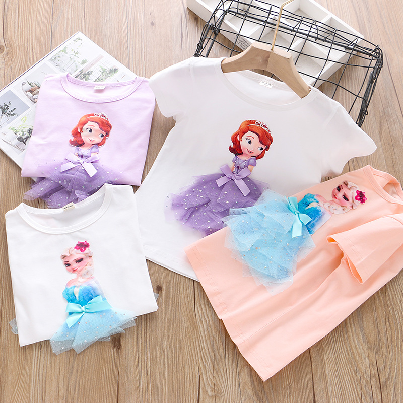 2020Girls Summer Princess T-Shirt Elsa Childen Cotton Tees Lace T Shirt 3D Sofia Appliques Kid Birthday Party Top Clothing Shirt