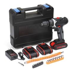 36V 6500mAh Draadloze Boormachine Elektrische Dubbele Snelheid Schroevendraaier Boren Kit W/1/2/ 3Pcs Li-Ion Batterij Met LED Licht