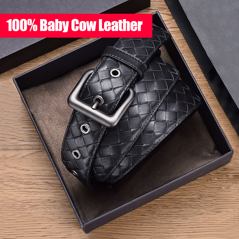 Men's Belt 100% Baby Cow Leather Woven Luxury Brand Business Classic Fashion Simple High-End Alloy Buckle 2020 New Gift Box Spot