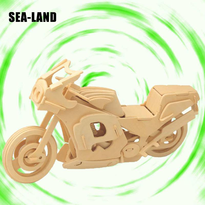 3D Wooden Puzzles Assembled Jigsaw Motorcycle Series Model Educational Puzzle Toys Collection Gift For Children