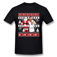 Santa And Jesus Ugly Christmas Sweater T-shirt For Men Plus Size Cotton Team Tee Shirt 4XL 5XL 6XL Camiseta(China)