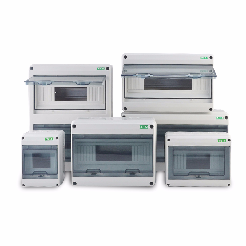 5/8/12/15/18/24 Way Plastic Electrical Distribution Box Waterproof MCB Box Panel Mounted Distribution Box HT Series