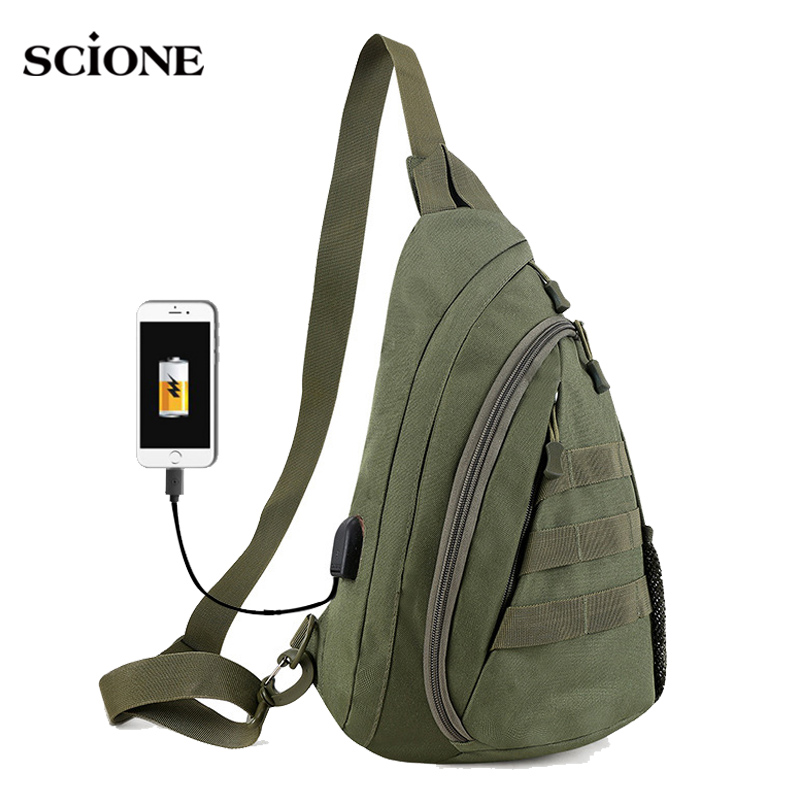 Army Green Tactical Sling Chest Bag Pack Messenger Shoulder Outdoor Pouch Mens