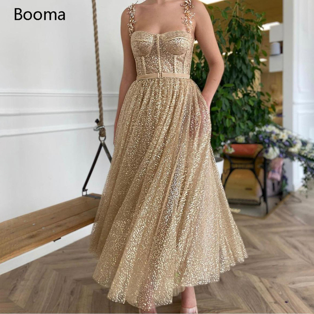 Booma Gold Glitter Tulle Prom Dresses Beaded Straps Tea-Length Prom Gowns Pockets A-Line Short Formal Party Dresses Plus Size 1