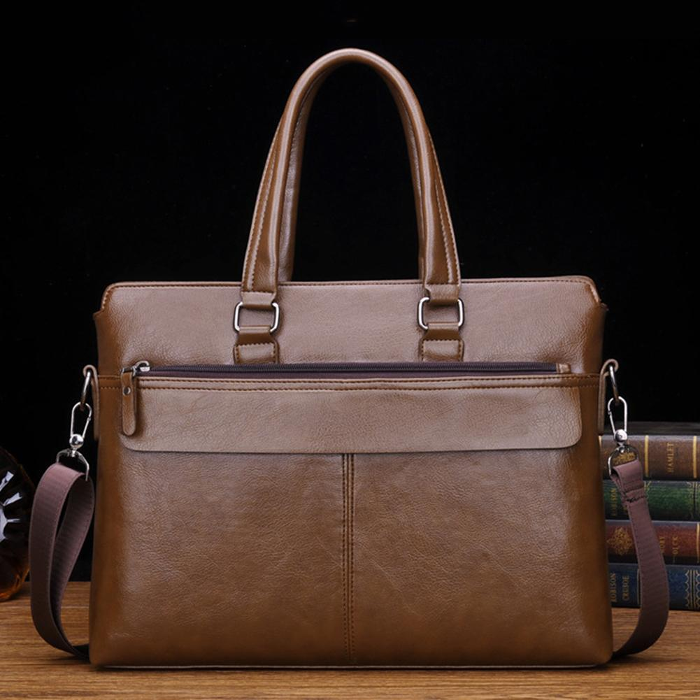 Men Business Solid Color Tote Briefcase Faux Leather Crossbody Shoulder Bag