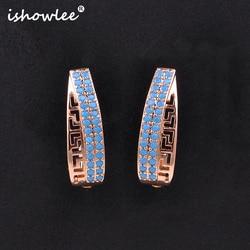 ISHOWLEE New Rose Gold 585 Blue Zircon Irregular Hollow Stud Earrings for Women Fashion Simple Party Earrings Luxe Jewelry esp80
