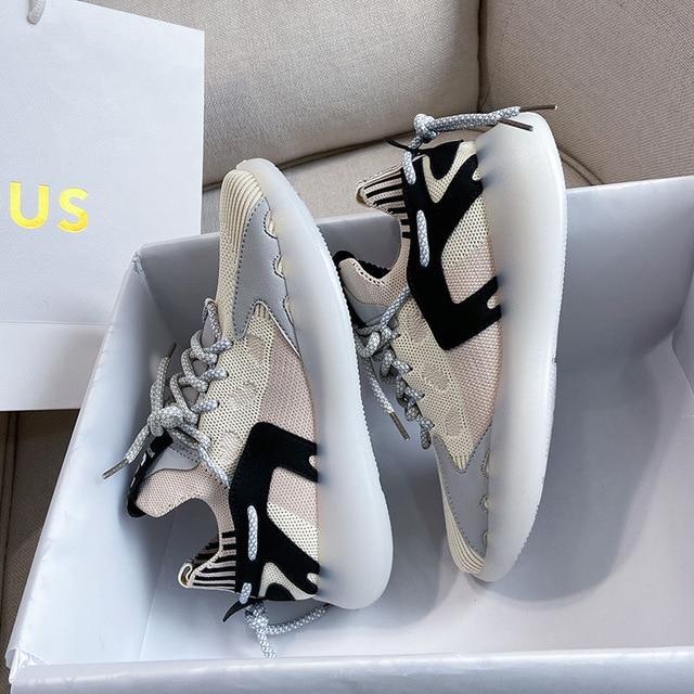 Zapatillas de deporte de mujer vulcanizados zapatos de malla transpirable moda Zapatos casuales de las mujeres zapatillas de deporte sólido de señoras zapatos de nuevo 1