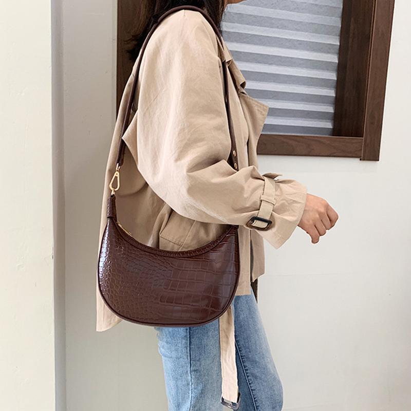 LILY QUEEN Women Luxury Shoulder Bags Crossbody Messenger Alligator Leather Dumpling Shape Girls Handbags and Purses Half Moon
