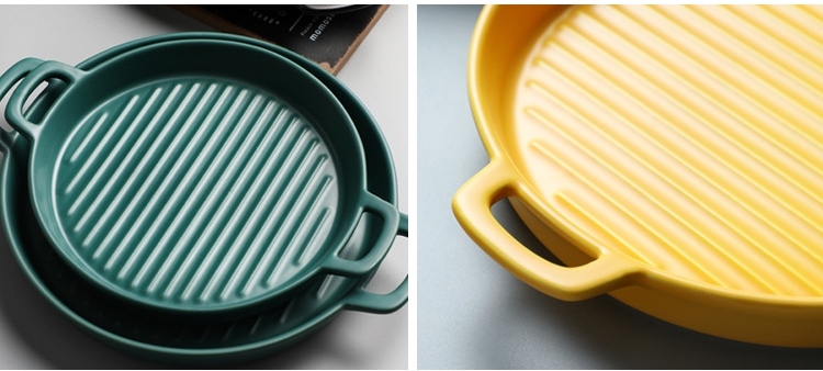 Binaural Baking Dish Pizza Dish Round Dish Plate Dish Creative Oven Ceramic Western Kitchen Tableware Microwave Oven Flat Plate
