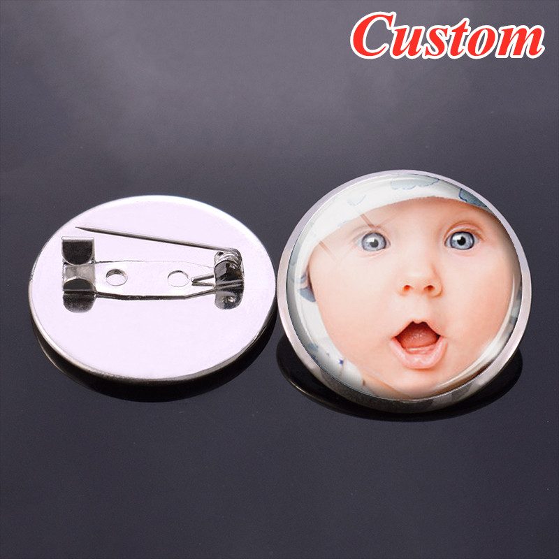 DIY Your Photo Logo Text Vintage Bronze Brooch Gift For Friends Lovers Custom Round Badge Personalized Brooch Pins 1PCS