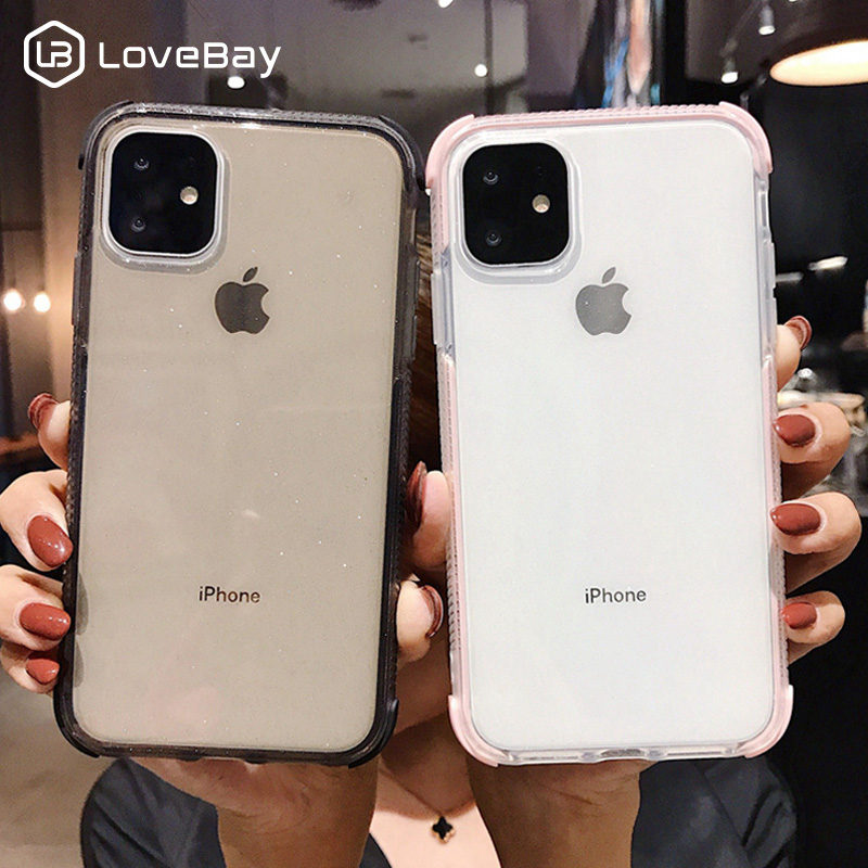 Lovebay For IPhone 11 Phone Case Transparent Shockproof For IPhone 7 8 6 6s Plus 11 Pro X XR XS Max Glitter Solid Soft TPU Cover