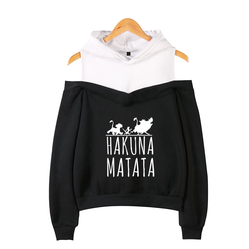 The Lion King Hakuna Matata Cotton Off-The-Shoulder Hoodies Coat Woman Hoodies Sweatshirt Hot Casual Wear