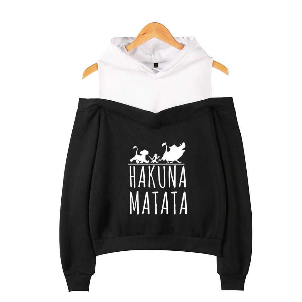 The Lion King Hakuna Matata Cotton Off-The-Shoulder Hoodies Coat Woman Hoodies Sweatshirt Hot Casual Wear