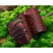 Nórdico viking vegvisir em relevo braço braceletes medieval couro pu braço guardas kit b36d