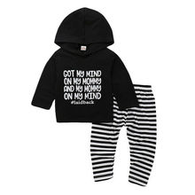 Одежда для новорожденных мальчиков и девочек 0-24 месяцев, комплект из топа с капюшоном+ полосатых штанов-леггинсов