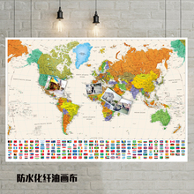 Flag-Poster World-Map Size-Wall-Decoration Color with 40x60cm-Oil/canvas-Map