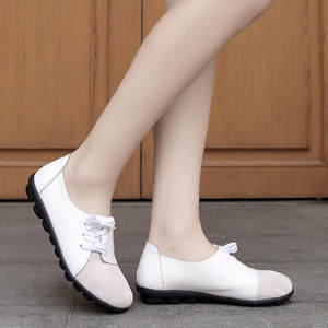 Women Flats Comfortable-Shoes Large-Size Solid-Color Retro Lace-Up Loafers Soft-Bottom