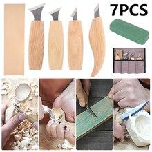 7шт деревообработка резьба шаблон инструмент древесины долото нож ручной набор шелушения поделки