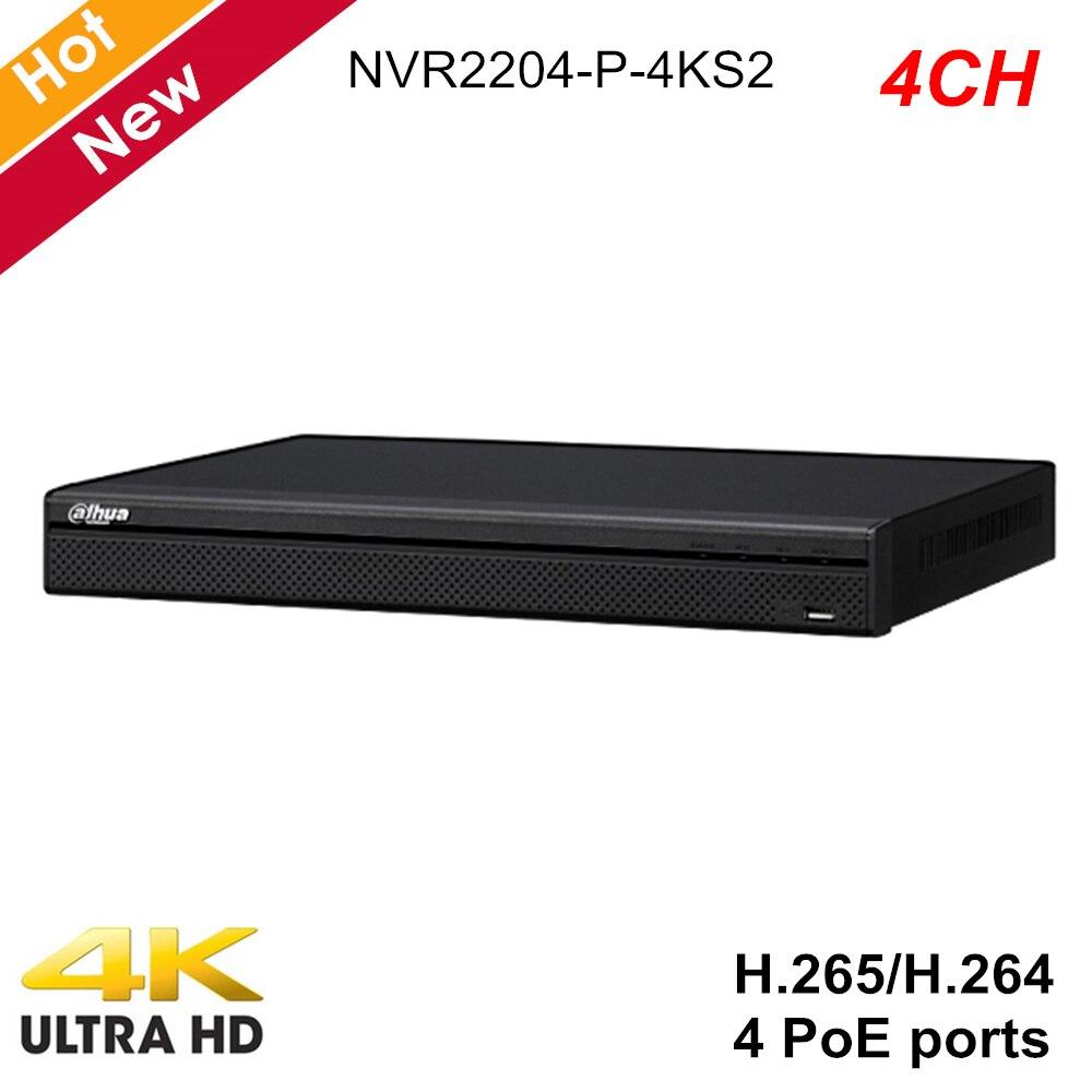 Dahua Lite Series 2 HDD 4k NVR recorder 4ch NVR2204 P 4KS2 4 POE Ports H.265 Network Video Recorder for IP Cameras Recorder Surveillance Video Recorder     - title=