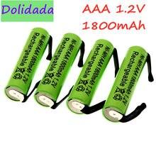 Bateria recarregável ni-mh 1.2v aaa, 1800mah, com guias de solda para philips braun barbeador elétrico, navalha, escova de dentes