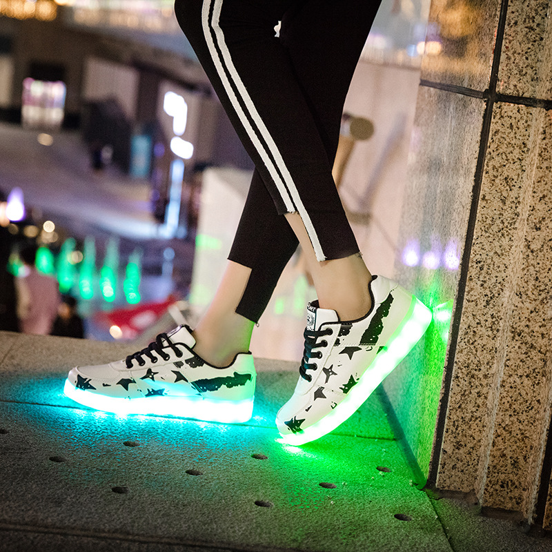 Luminous Casual Shallow Men Shoes Round Toe Colorful LED Chaussure Comfortable Non Slip Festival Gift Espadrilles in Sneakers from Mother Kids