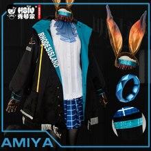 Disfraz de Cosplay de HSIU Arknights AMIYA para mujer, chaqueta, falda, camisa, juego completo de peluca, Disfraces de Halloween y Carnaval, hecho a medida