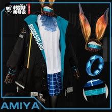 HSIU Arknights AMIYA Cosplay kostüm ceket ceket etek gömlek tam Set peruk oyunu kadın cadılar bayramı karnaval kostümleri Custom Made