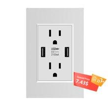 Ons Standaard Dual Usb Stopcontact, Dubbele 2.1A Universal Plug Socket Port Power Adapter Outlets, fraudebestendige Duplex Bakje