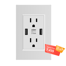 US Standard Dual USB Wall Socket,Double 2.1A Universal Plug Socket Port Power Adapter Outlets,Tamper Resistant Duplex Receptacle