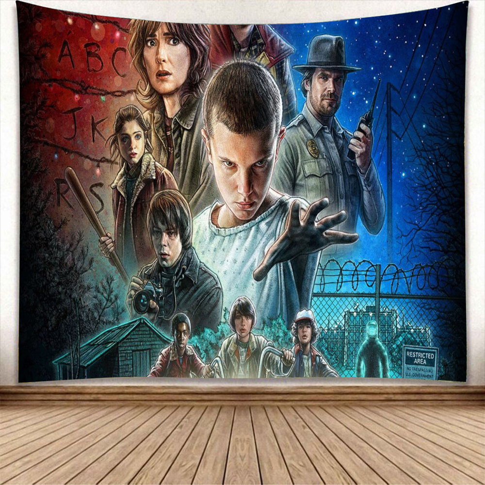 Stranger Things Tapestry Wall Hanging Cactus Green Succulents Carpet Blanket Yoga Mat Decorative Tapestry Home 230X180cm
