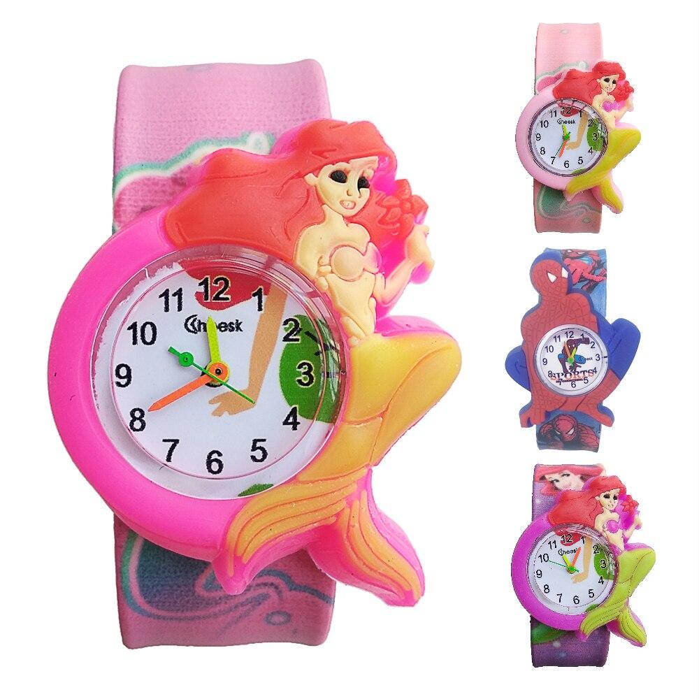 3D Mermaid Spiderman Girls Watches Kids Gift Children Digital Watch Boys Students Quartz Wristwatches Relogio Kol Saati Clock