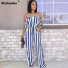Wuhaobo Sexy Slash Neck Bohemian Long Jumpsuits 2020 Fashion Summer Casual Jumpsuits Stripes Sexy Off Shoulder Wide Leg Pants(China)