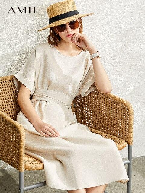 Amii Minimalism New Causal Women's Dress Offical Lady 100%Linen Oneck Loose Belt Calf-length Women's Summer Dress 12140192 2