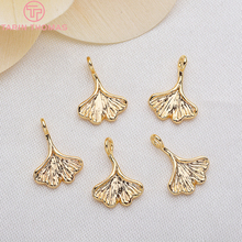 10PCS 8x11MM 24K Gold Color Brass Ginkgo Biloba Charms Pendants High Quality Diy Jewelry Findings Accessories