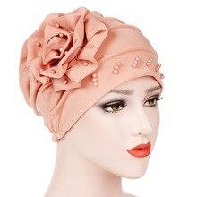 Helisopus Women New Style Ruffle Beaded Solid Scarf Cap Muslim Head Wrap Chemo Turban Ladies Bandanas Hair Accessories