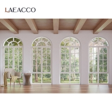 Laeacco نافذة غرفة المعيشة المشهد الداخلي كرسي سقف خشبي الطابق شجرة صور خلفية التصوير خلفية للصور استوديو