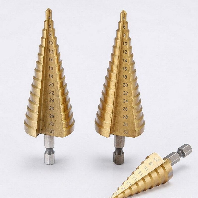 3-12mm 4-12mm 4-20mm Step Cone Drill Bit Hole Dint Tool Hex Shank Step Drills shank Coated Metal Drill Bit