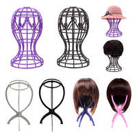 Adjustable Wig Stands Plastic Holding Standing Folding Stable Salon Practice Portable Wig Hair Head Hat Cap Display Stand Tools