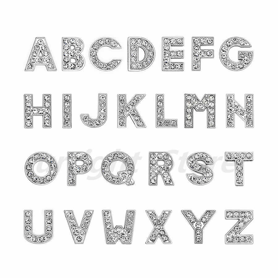 1pc A-Z 실버 라인 석 영어 편지 알파벳 내부 직경: 10mm 슬라이드 편지 부적 diy 열쇠 고리 팔찌 애완 동물 고리에 맞게