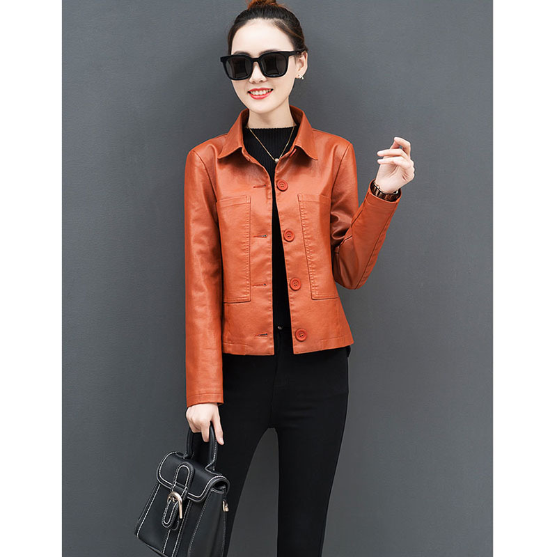Leather   women's short jacket spring and autumn 2019 new Korean version of the slim fashion   leather   jacket A435