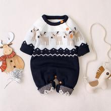 Baby Girls Christmas Rompers Autumn Long Sleeve Newborn Bebe Boys Jumpsuits Reindeer Knitted Toddler Overalls Children Clothing christmas reindeer knitted newborn baby boys girls romper jumpsuit winter kids costume long sleeve pajamas overalls for children