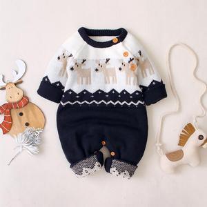 Śpioszki dla niemowląt boże narodzenie jesień z długim rękawem noworodka Bebe chłopcy dziewczęta kombinezony reniferowe kombinezony z dzianiny maluch odzież dziecięca