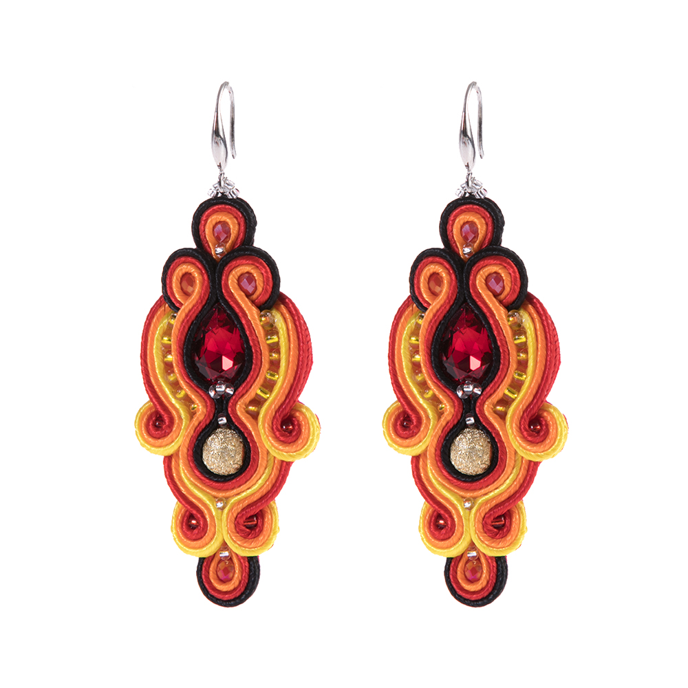 Handmade gold earrings and bracelet Soutache earring,Gift for her Soutache earrings and bracelet set Soutache jewelry Soutache bracelet