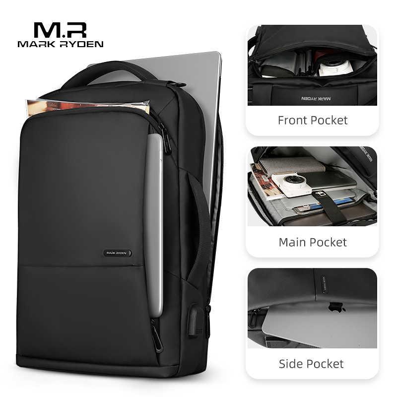 Mark Ryden seyahat sırt çantası büyük kapasiteli genç erkek Mochila anti-hırsızlık çantası USB şarj 15.6 inç Laptop sırt çantası su geçirmez