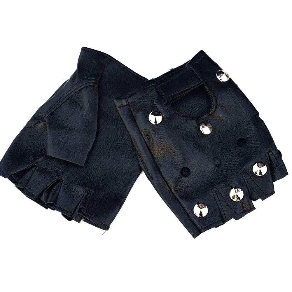 Men Artificial Leather Performance Wear Gloves Casual Punk Street Dance Rivet Fashion Half Finger Wear Resistant