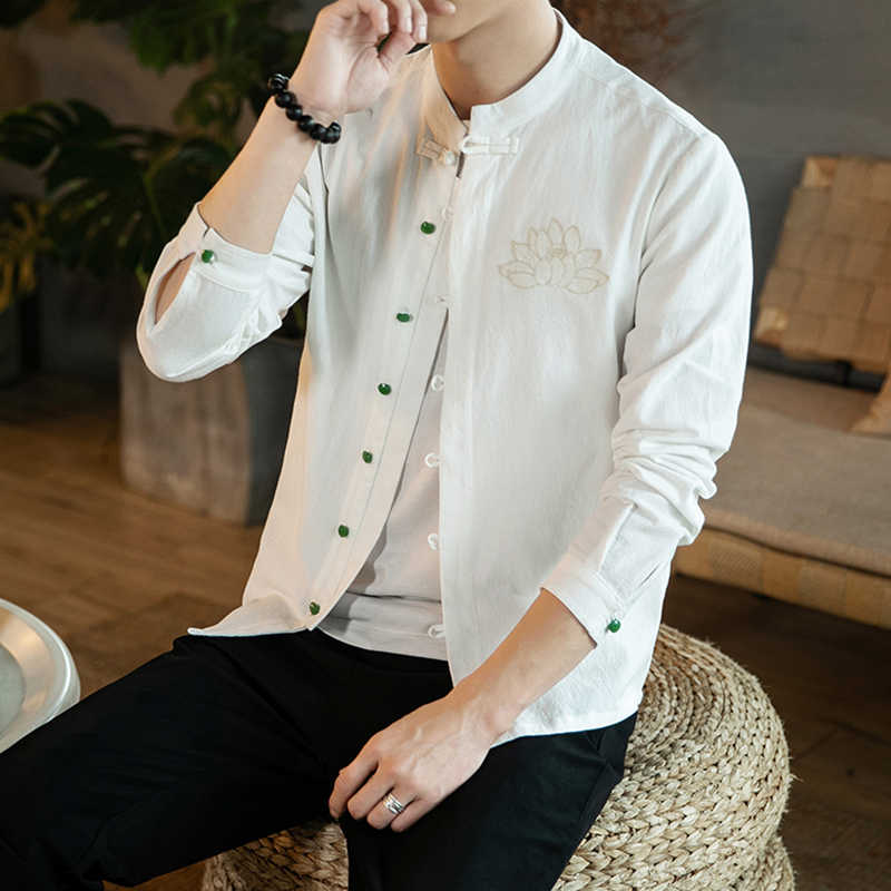BONJEAN 中国風の長袖リネンシャツ男性の垂直襟刺繍花男性シャツ harujuku Shirtcoat